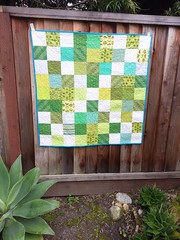 Easy Green (Erin J. M.) Tags: green white squares quilt donation bamq charity modern patchwork loops spring