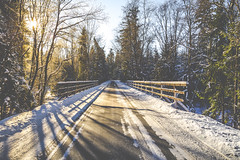 On my way (kubaszymik) Tags: bridge road path snow winter mountains beskidy silesia poland canon vsco morning sunrise dawn light yellow white cold freeze frozen ice żywiec january 2017 forest trees