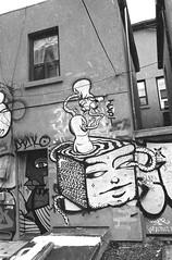 Bizarre Tofu (Georgie_grrl) Tags: graffiti streetart creative expression graffitialley pentaxk1000 rikenon12828mm toronto ontario blackandwhite monochrome jchstreetpan400 torontophotowalks photographers social outing topw2017rs