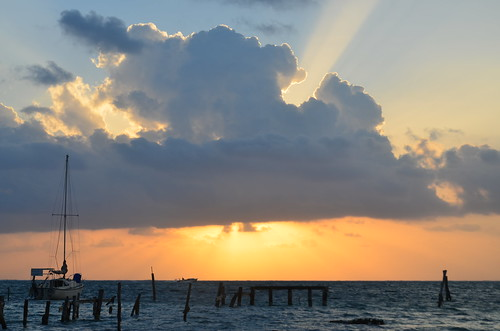 Sun rising on Caye Caulker