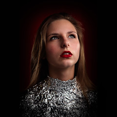Outer Limits (Christine Lebrasseur) Tags: red portrait people woman france art texture 6x6 canon teenager fr aluminium tinfoil onblack gironde 500x500 léane saintloubes allrightsreservedchristinelebrasseur
