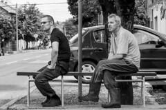 Sitting together (chat des Balkans) Tags: street blackandwhite bw bench workers noiretblanc serbia streetlife together streetphoto rue ensemble banc vojvodina srbija voivodina photoderue serbie streetpicture travailleurs vrsac sittingonabench peoplesittingtogether assissurunbanc serbiastreet ruedeserbie voivodine lifeinserbia vieenserbie serbiastreetphoto lifeinvrsac vieavrsac vrsacstreetphoto vrsacstreet ruedevrsac