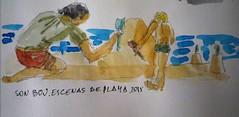 Menorca.06-2015. Papa jugando a los castillos en la arena, con niño.3 (joseluisgildela) Tags: sketchs watercolors menorca playas acuarelas carnetsdeviaje