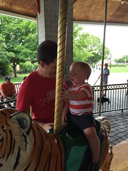 "Paul and Daddy on the Carousel at Brookfield Zoo • <a style=""font-size:0.8em;"" href=""http://www.flickr.com/photos/109120354@N07/19810294530/"" target=""_blank"">View on Flickr</a>"