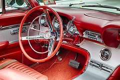 62 Thunderbird Interior (Jerry Fornarotto) Tags: classic ford clock car radio vintage emblem logo carpet classiccar muscle antique antiquecar interior retro chrome dash seats transportation restored vehicle inside dashboard horn collectible knobs thunderbird console speedometer 1962 hdr steeringwheel musclecar tbird blinker convertable fuelgauge glovecompartment glovebox bucketseats jerryfornarotto antiquemusclecar