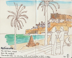 Beachfront at Peniscola (blinkingidiot) Tags: urbansketching travelsketching peniscola inkwatercolour
