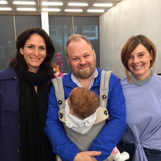 Rhonda Mitrani, Tobias Ostrander with daughter Sabine and Carola Bravo at PAMM in the occasion of Now Be Here # 3 shooting