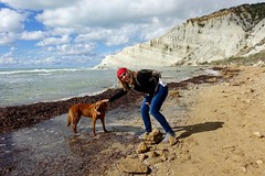 Molly and her dog at Scala dei Turchi (planetphoton) Tags: italy sicily scaladeiturchi