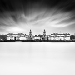 Old Royal Naval College (LJP40) Tags: oldroyalnavalcollege nikon nikond700 longexposure le london londonskyline riverthames river thames greenwich maritime blackandwhite bw blackwhite water clouds cloud uk navalcollege royalhospital christopherwren wow