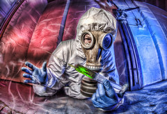 The Antidote (D-W-J-S) Tags: toxic spill gas fumes suit poison syringe needle serum antidote barrier mask pipe leak red blue green gloves