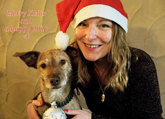Merry XMas and Happy 2017 (Zandgaby) Tags: xmas merryxmas merrychristmas christmas festive dog woman portrait hat santa cute wishes flickfriday lastchristmasigaveyoumyheart sweet merry cheerful smile blonde red shiny white christmasball silver