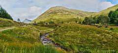 Scotland, West Highland Way, on the way to Bridge of Orchy (Tatters ✾) Tags: scotland westhighlandway whw hiking scenery stitch panorama creek oloneo bridge