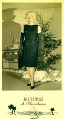 Christmas card lady (kevin63) Tags: lightner photo 50s 60s christmas card tree lady sequineddress longglove blond blackshoes wig bouffant television tv redlipstick