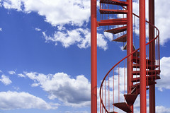 Stairway to heaven II (on Explore) (Jan van der Wolf) Tags: map156176vvv red rood redrule trap spiralstaircase clouds wolken staircase stairs stairway spiral