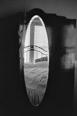 reflection for a redo (kelly lynn richards) Tags: flim filmphotography 35mm filmisnotdead issfxbw pentaxsp1000 kodaktmax100 blackandwhite pushiso reflection redo staugustine twophotogs pkkb morning