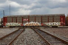 (o texano) Tags: houston texas graffiti trains freights benc benching bozo gets anti