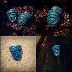 Swirly Blues (Midnight Hoots) Tags: accessories hair clay polymer fimo dreads beads bead dreadlock handmade blue swirl stripy dots
