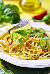 Spaghetti with chili,garlic and basil. (lilechka75) Tags: food white yellow dinner recipe table lunch pepper cuisine wooden leaf vegan healthy italian chili mediterranean dish background traditional spice olive plate pasta vegetarian oil basil noodles spicy diet spaghetti cooked boiled herb macaroni seasoning prepared lenten meatless