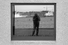 selfportrait (marioprieto) Tags: blackandwhite selfportrait blancoynegro copenhagen denmark mirror harbour reflexion kbenhavn copenhage