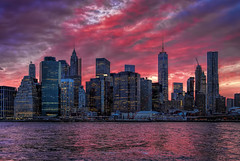 Lower Manhattan Sunset (NYRBlue94) Tags: park new york city nyc travel bridge pink light sunset sky cloud color building skyline architecture brooklyn river cityscape outdoor dusk manhattan violet carousel east tall lower janes