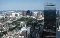 Boston from the Prudential Tower (SteveInLeighton's Photos) Tags: usa america newengland 1982 unitedstates transparency ektachrome massachusetts august boston prudential city olympusom10 travel johnhancocktower