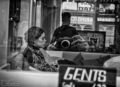 Gents (Daz Smith) Tags: dazsmith fujixt10 fuji xt10 andwhite bath city streetphotography people candid canon portrait citylife thecity urban streets uk monochrome blancoynegro blackandwhite mono young woman hair gents window reflections shop haircut style