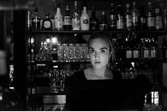 Can I please pay the bill? (Hans Dethmers) Tags: girl woman café bar hansdethmers wine wijn blackandwhite monochrome zwartwit arnhem