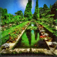 Alhambra Garden Pool (Rusty Russ) Tags: alhambra granada spain garden green pool trees flowers photoshop topaz filters painting reflection sky sun surreal ornate digital newsroom creative commons flickr photo picture newburyport north shore cape ann imagination spirit color creativity idea montage manipulation create image feeling mood texture rework adjust on1 raw tif jpg interesting avant guarde