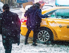 Snow! (Explore, January 8) (Mildred Alpern) Tags: snow people taxi outdoors snowflakes street nyc