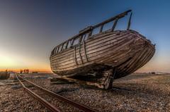 Abandoned Fishing Boat (iankent1963) Tags: boat beach dungeness kent seascape abandoned dusk uk england hdr traintrack fishingboat old wreck flickr nikond5100 sigma 1020 wideangle