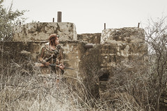 Approach (No Stone Unturned Photography) Tags: abandoned urbex cosplay costume post apocalyptic fallout wastelands gun girl structure desert