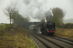 Rabbit Bridge (gooey_lewy) Tags: 70013 oliver cromwell great central railway rail train steam loco engine charter time line events tle 462 british railways 7mt brit pacific standard locomotive britannia class murky mist fog atmospheric atmosphere goods fitted freight wagons vans 12t box
