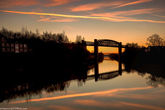 Latchford Locks (5 of 8) (andyyoung37) Tags: latchfordlocks manchestershipcanal reflections uk warrington bridge cheshire oldrailwaybridge orangesky sunset