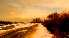 . (Vieparamsberlon.) Tags: landscape autumn winter snow path country road serene trees cloud sky