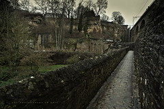 Walled Fortifications, Grund, Luxembourg City (DGC Photography.ca) Tags: luxembourgcity luxembourg grund chapelofsaintquirin fortifications walls medieval stone cobblestones
