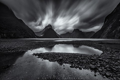 Magical Milford Sound - South Island, New Zealand (Jim Patterson Photography) Tags: longexposure travel newzealand sky blackandwhite reflection monochrome clouds landscape outdoors moody southpacific southisland milfordsound drama dramtic jimpatterson jimpattersonphotography jimpattersonphotographycom seatosummitworkshops seatosummitworkshopscom