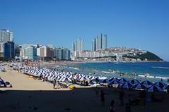 Beach (AJC2911) Tags: city blue sea sky people sun building beach water sunshine clouds boats sand south korea hills busy busan haeundae birdbirdspigeonpigeons