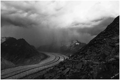 The Elements (Kusi's Pictures) Tags: blackandwhite cloud storm alps schweiz switzerland suisse glacier sw alpen schwarzweiss gletscher alp wallis moraine valais aletsch icefield naters eggishorn fiesch morne glacierschwarzweiss
