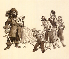 Pirates and a wench (Tom Simpson) Tags: illustration vintage disneyland pirates disney pirate 1960s piratesofthecaribbean wench conceptart marcdavis imagineer vintagedisney