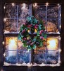 Wintery Window (memoryweaver) Tags: stilllife ricelights ledlights fairylights lights christmas candlelight lookingin festive snowy snow candles wreath frost window epsomsalts patterns frosty wintery
