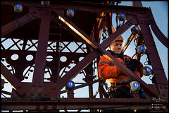 Lighting engineer, top of Blackpool tower. (Lee Ramsden) Tags: blackpool tower lancashire fylde wyre council lift worker working hard hat height engineer landscape view point houses borough rope access top hiviz merlin irata industrial