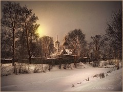 Winter evening in Belkino. (odinvadim) Tags: mytravelgram textured textures iphone editmaster travel iphoneography sunset evening iphoneonly church painterly artist snapseed landscape specialist iphoneart graphic painterlymobileart winter