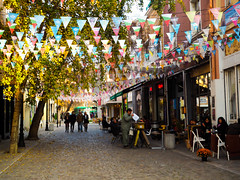 The colours of autumn (bulgit) Tags: colours autumn tree cafe walking people flags relaxing plovdiv bulgaria kapana
