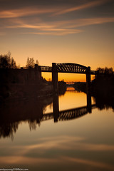 Latchford Locks (9 of 8) (andyyoung37) Tags: latchfordlocks manchestershipcanal reflections uk warrington bridge cheshire oldrailwaybridge orangesky sunset