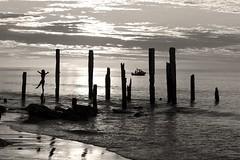 Beach Silhouette (Paul Moons) Tags: girl beach willunga sunset ocean sea pier