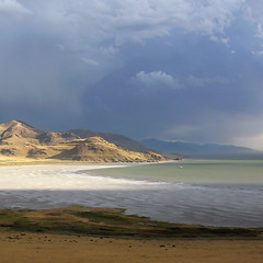 Afternoon Storm (bentilden) Tags: shadow usa storm color water weather clouds utah antelopeisland greatsaltlake