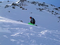 Adrian, north face of Bellecote (Ruth and Dave) Tags: powder adrian snowboarder laplagne bellecote offpiste