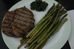Steak, Spinach and Asparagus