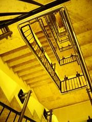 Escher (* Garron Nicholls *) Tags: uk light topf25 yellow night stairs spiral shadows leeds duotone i10 escher interestingness6 garron i500