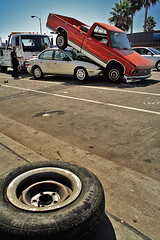 Double Parked (obeck) Tags: auto car wheel truck la losangeles automobile funny crash humor tire valley saturn wreck towtruck carwreck 1on1